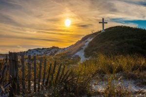 Walk With Us - Sun shining on cross